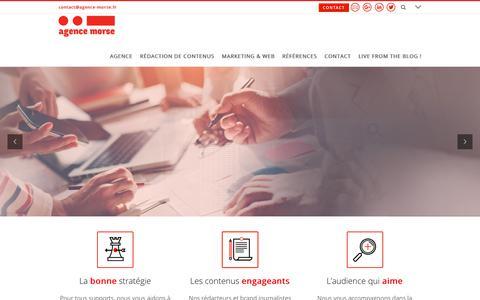 Screenshot of Home Page agence-morse.fr - Agence Morse - Communication éditoriale et brand journalisme - captured July 29, 2018