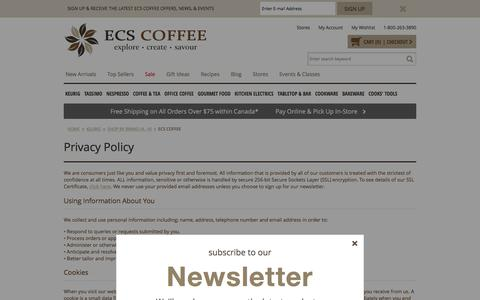 Screenshot of Privacy Page ecscoffee.com - Privacy & Security  - Canada's Single Serve Coffee, Keurig® K-Cup®, Tassimo®, Nespresso®, & Kitchen Store - captured Jan. 14, 2016