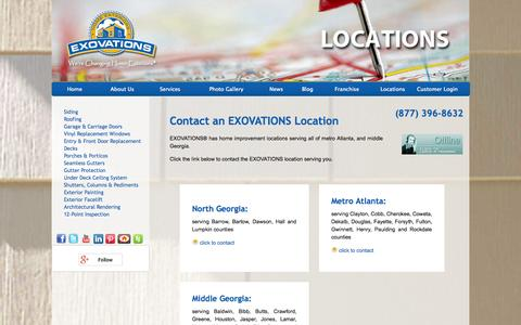 Screenshot of Locations Page exovations.com - Home Improvement & Remodeling Contractor Locations in Atlanta and Macon, Georgia | EXOVATIONS - captured Sept. 27, 2014