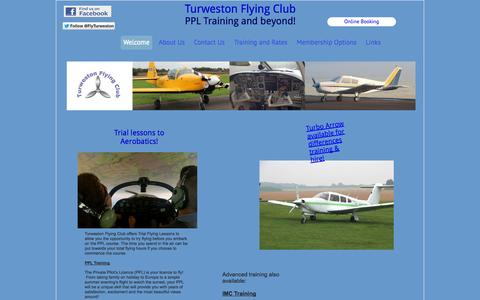 Screenshot of Home Page turwestonflyingclub.org.uk - Turweston Flying Club - captured Oct. 7, 2014
