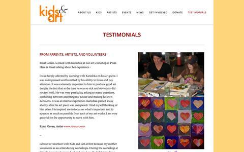 Screenshot of Testimonials Page kidsandart.org - Testimonials — Kids and Art Foundation - captured Oct. 6, 2014