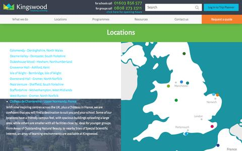 Screenshot of Locations Page kingswood.co.uk - Locations  Residential outdoor education and activity centre   Kingswood - captured Oct. 17, 2017