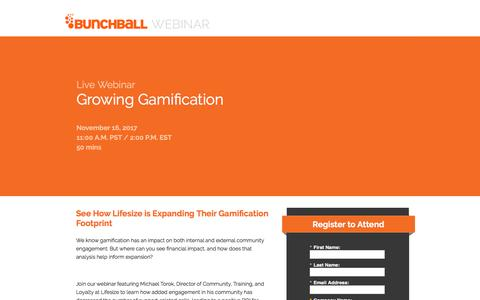 Screenshot of Landing Page bunchball.com - Webinar- Growing Gamification - captured Dec. 5, 2017