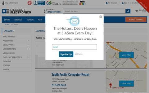 Screenshot of Contact Page Locations Page discountelectronics.com - Store Locations - Discount Electronics - captured Oct. 9, 2018