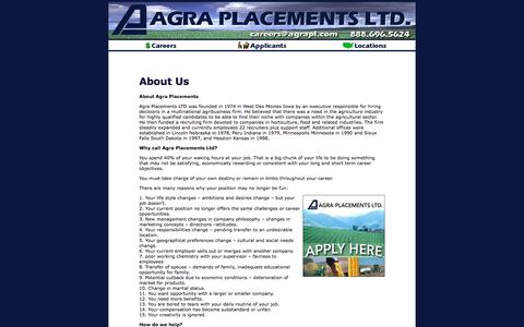 Screenshot of About Page agraplacements.com - Job Postings with Agra Placements - captured Oct. 7, 2017