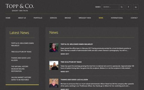 Screenshot of Press Page toppandco.com - News | Topp and Co | Architectural metalwork | Bronze metalwork - captured March 27, 2017