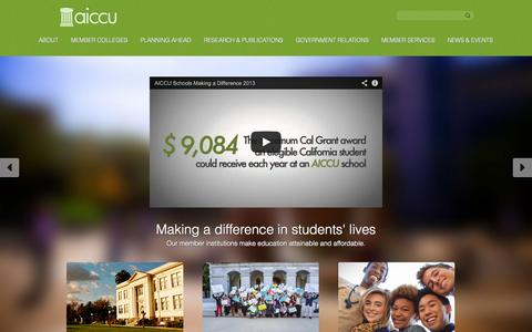 Screenshot of Home Page aiccu.edu - AICCU -AICCU - captured Oct. 4, 2014