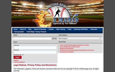 Screenshot of Terms Page hubiemagic.com - Legal - - captured Oct. 6, 2014