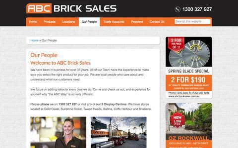 Screenshot of Team Page abcbricksales.com.au - ABC Brick Sales Team, experts on all things Bricks, Blocks and Pavers - captured Aug. 5, 2015