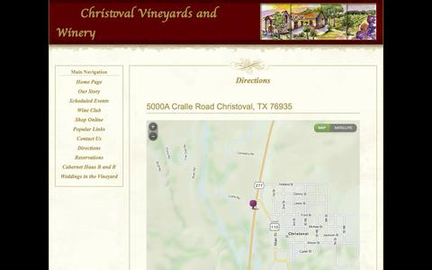 Screenshot of Maps & Directions Page christovalvineyards.com - Directions - captured Oct. 2, 2014