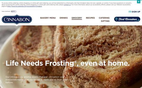 Screenshot of Products Page cinnabon.com - Cinnabon® Grocery Products: Make at Home - captured July 18, 2018