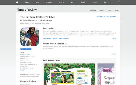 Screenshot of iOS App Page apple.com - The Catholic Children's Bible on the App Store on iTunes - captured Oct. 23, 2014