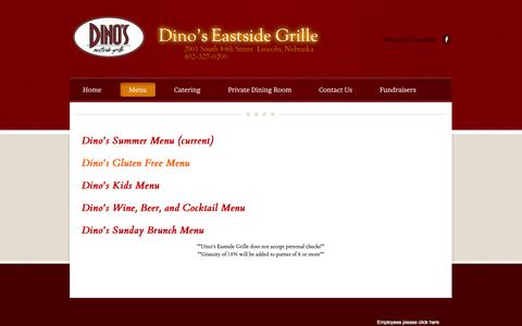 Screenshot of Menu Page weebly.com - Menu - Dino's Eastside Grille - captured Sept. 17, 2014