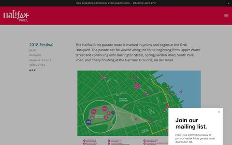 Screenshot of Maps & Directions Page halifaxpride.com - Map — Halifax Pride - captured April 11, 2018