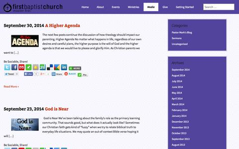 Screenshot of Blog fbcprinceton.net - Blog | First Baptist Church - Princeton, IN - captured Oct. 6, 2014