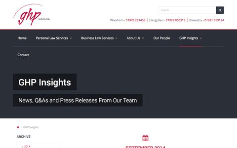Screenshot of Press Page ghplegal.co.uk - GHP Insights | GHP Legal - captured Sept. 29, 2014