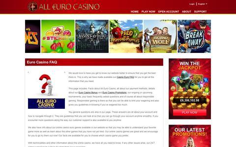 Screenshot of FAQ Page alleurocasino.com - Euro Casino FAQ – Getting to know All Euro Casino - captured Nov. 11, 2016