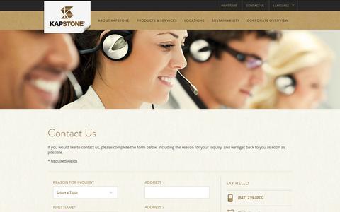 Screenshot of Contact Page kapstonepaper.com - Contact | KapStone Paper and Packaging | KapStone - captured Oct. 27, 2014