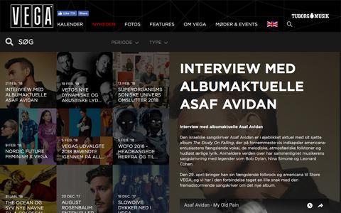 Screenshot of Press Page vega.dk - Interview med albumaktuelle Asaf Avidan - VEGA | Musikkens hus - captured Feb. 23, 2018