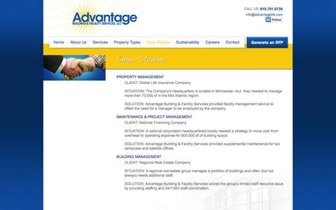 Screenshot of Case Studies Page advantagebfs.com - Advantage Building & Facility Management Case Studies - captured Oct. 4, 2014