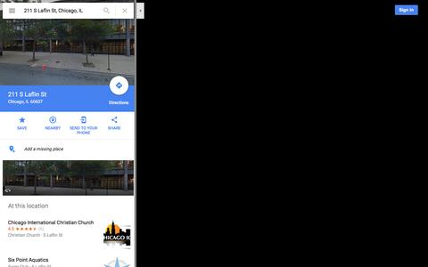 Screenshot of Maps & Directions Page google.com - 211 S Laflin St - Google Maps - captured Nov. 5, 2016