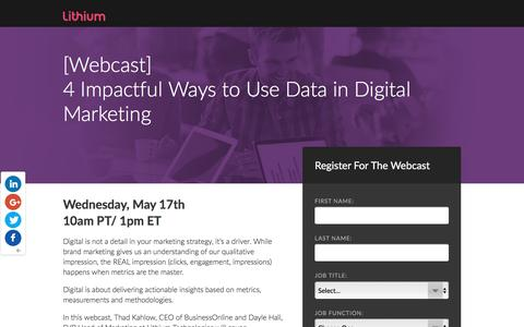 Screenshot of Landing Page lithium.com - [Webcast] 4 Impactful Ways to Use Data in Digital Marketing - captured May 17, 2017