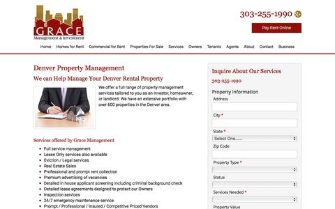 Screenshot of Services Page rentgrace.com - Denver Property Management, Denver Property Managers, Denver Property Management Companies - captured Feb. 1, 2016