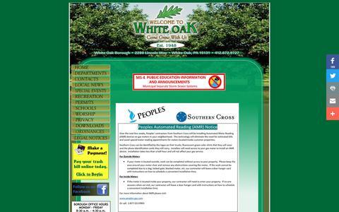 Screenshot of Home Page woboro.com - White Oak Borough - Come Grow With Us! - captured Oct. 20, 2017