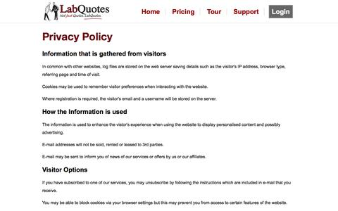 Screenshot of Privacy Page labquotes.com - LabQuotes - captured Sept. 27, 2014