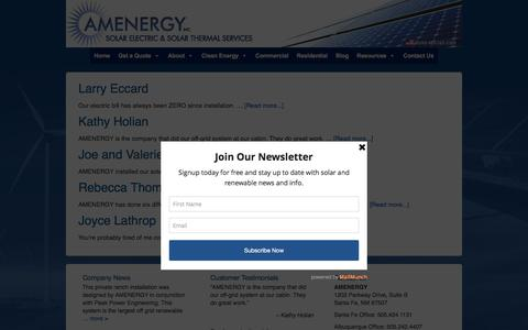 Screenshot of Testimonials Page amenergynm.com - Testimonials Archive - AMENERGY - captured Feb. 4, 2016