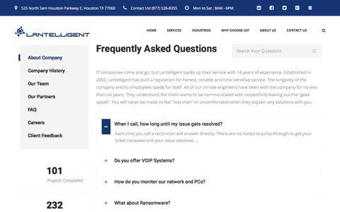 Screenshot of FAQ Page lantelligent.net - FAQ - About Houston's #1 IT Provider - captured July 16, 2018