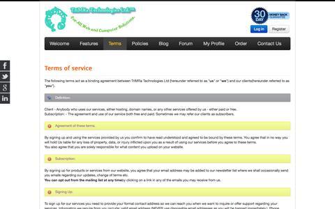 Screenshot of Terms Page trimratech.com - Terms - TriMRaTech.Com | free web hosting, web design, domains - captured Oct. 8, 2014