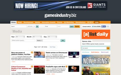 Screenshot of Press Page gamesindustry.biz - Media Archive  | GamesIndustry.biz - captured Sept. 18, 2014