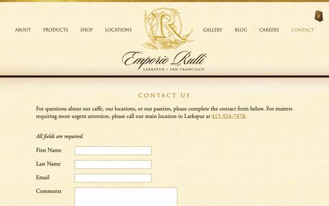 Screenshot of Contact Page rulli.com - Contact Us - Emporio Rulli - Italian pastry, Caffè and Wine Shop - captured Sept. 28, 2018