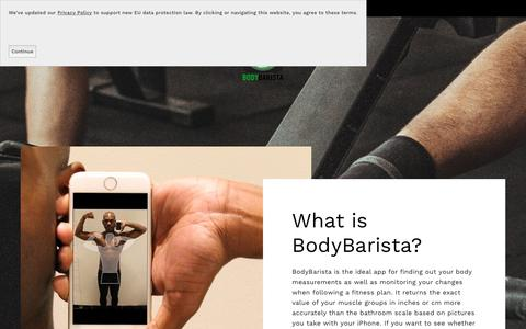 Screenshot of About Page bodybarista.com - What is BodyBarista? — The Body Measurement App - BodyBarista iOS App - captured July 14, 2018