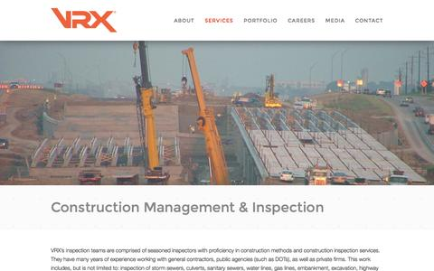Screenshot of Services Page vrxglobal.com - Construction Management & Inspection - captured Nov. 5, 2014