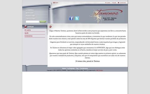 Screenshot of About Page vinotecataninos.com.ar - Quiénes somos - VINOTECA TANINOS - captured Oct. 7, 2014