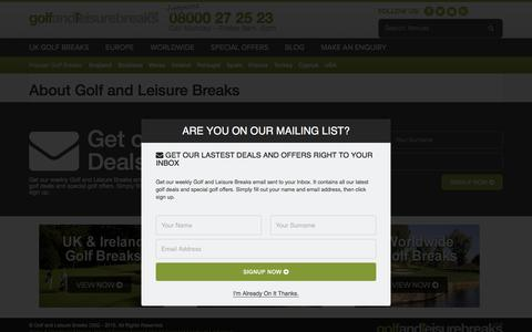 Screenshot of About Page golfandleisurebreaks.co.uk - About Golf and Leisure Breaks - captured June 13, 2016