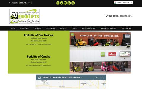 Screenshot of Locations Page forkliftsdsm.com - Clarklift DBA: Forklifts of Des Moines and Forklifts of Omaha - captured Oct. 10, 2018