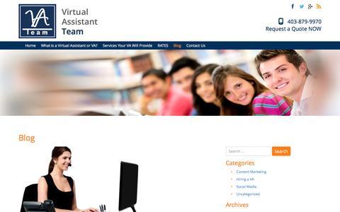 Screenshot of Blog vateam.ca - Blog | VA Team - Virtual Administrative Assistant Calgary | Virtual Assistant in Calgary | Your VA Team 403-879-9970 - captured Nov. 30, 2016