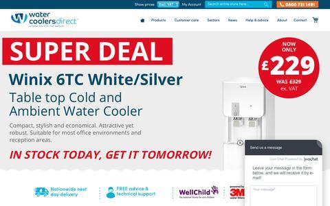 Screenshot of watercoolersdirect.com - Buy Water Coolers and Water Dispensers UK - Water Coolers Direct - captured Oct. 20, 2018