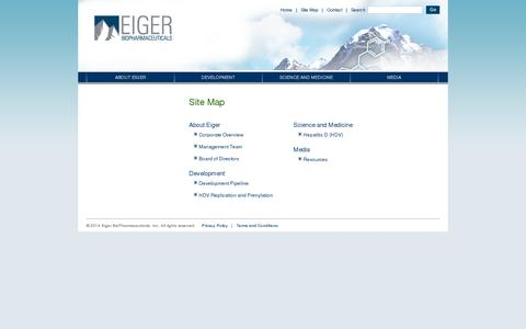 Screenshot of Site Map Page eigerbio.com - Eiger Biopharmaceuticals -Site Map - captured July 19, 2014