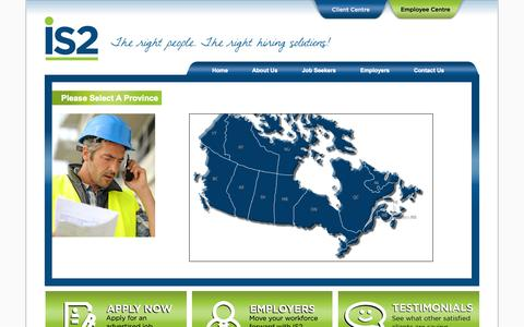 Screenshot of Contact Page Locations Page is2.ca - IS2 Workforce Solutions - captured Oct. 23, 2014