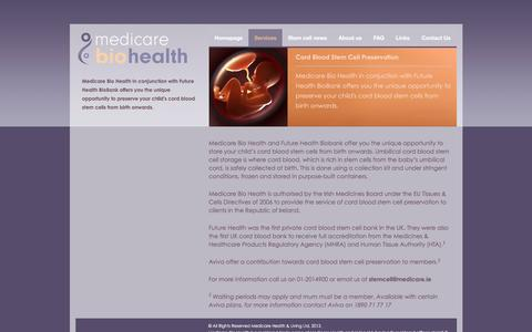 Screenshot of Services Page medicarebiohealth.ie - Services   Medicare BioHealth - captured March 6, 2016