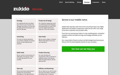 Screenshot of Services Page zukido.com - Zukido > Services - captured Sept. 30, 2014
