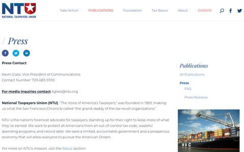 Screenshot of Press Page ntu.org - Press - Publications - National Taxpayers Union - captured Sept. 30, 2018