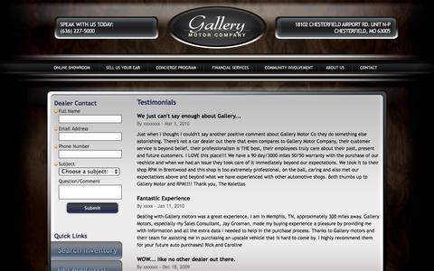 Screenshot of Testimonials Page gallerymotorco.com - Gallery Motor Company | Dealer | Chesterfield, Missouri - captured Oct. 1, 2014