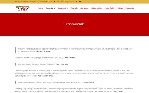 Screenshot of Testimonials Page hotdawgstop.com - Testimonials - Hot Dawg Stop Lafayette, LA - captured Feb. 1, 2016