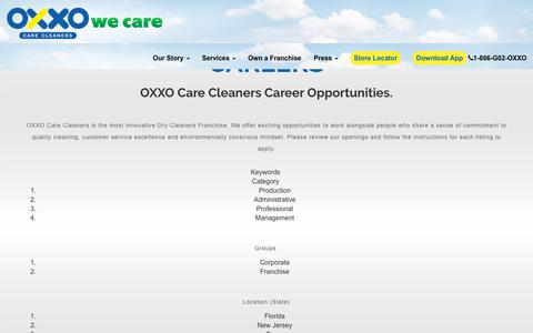 Screenshot of Jobs Page oxxousa.com - :: OXXO CARE CLEANERS :: - captured Oct. 18, 2018