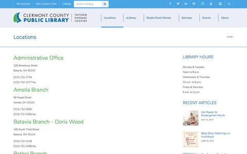 Screenshot of Locations Page clermontlibrary.org - Locations | Clermont County Public Library - captured Aug. 3, 2017
